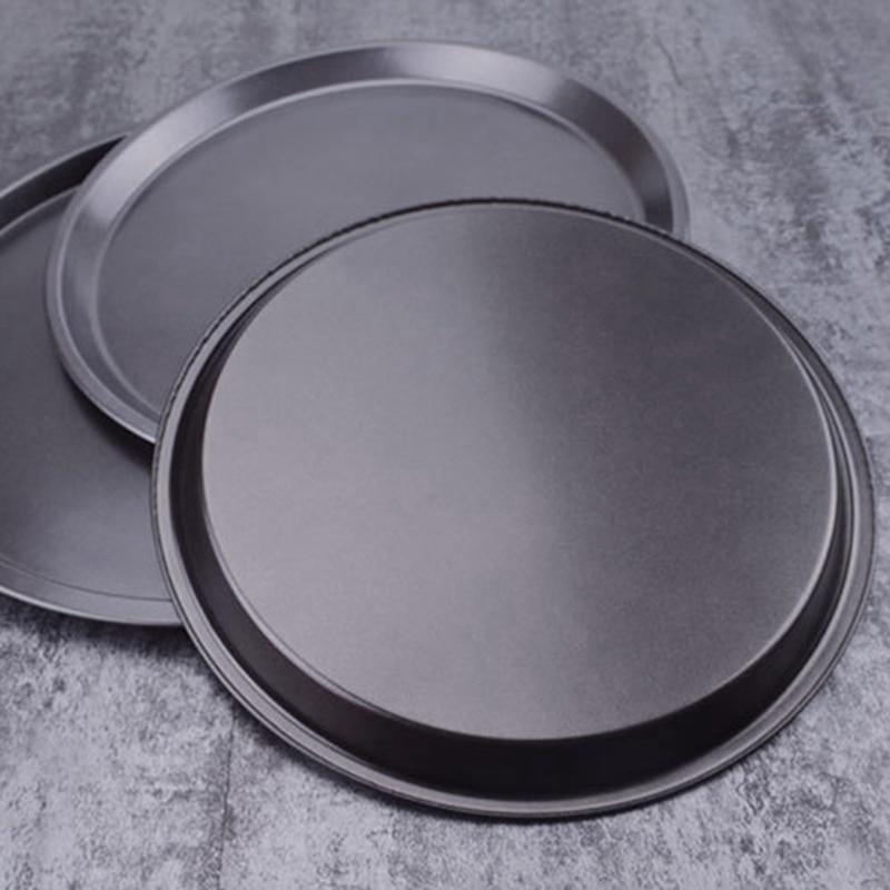 Placa de pizza antiaderente redonda pan preta acessórios de cozimento molde ferramentas de cozimento molde bandeja de pizza 9/10/11/12/14 polegadas pizza pan
