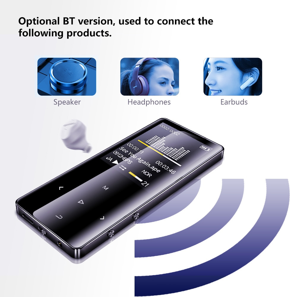 New Version Bluetooth MP3 Support Music Player with Loudspeaker and built-in 16Gb Hifi Portable Walkman with Radio/Fm enlarge