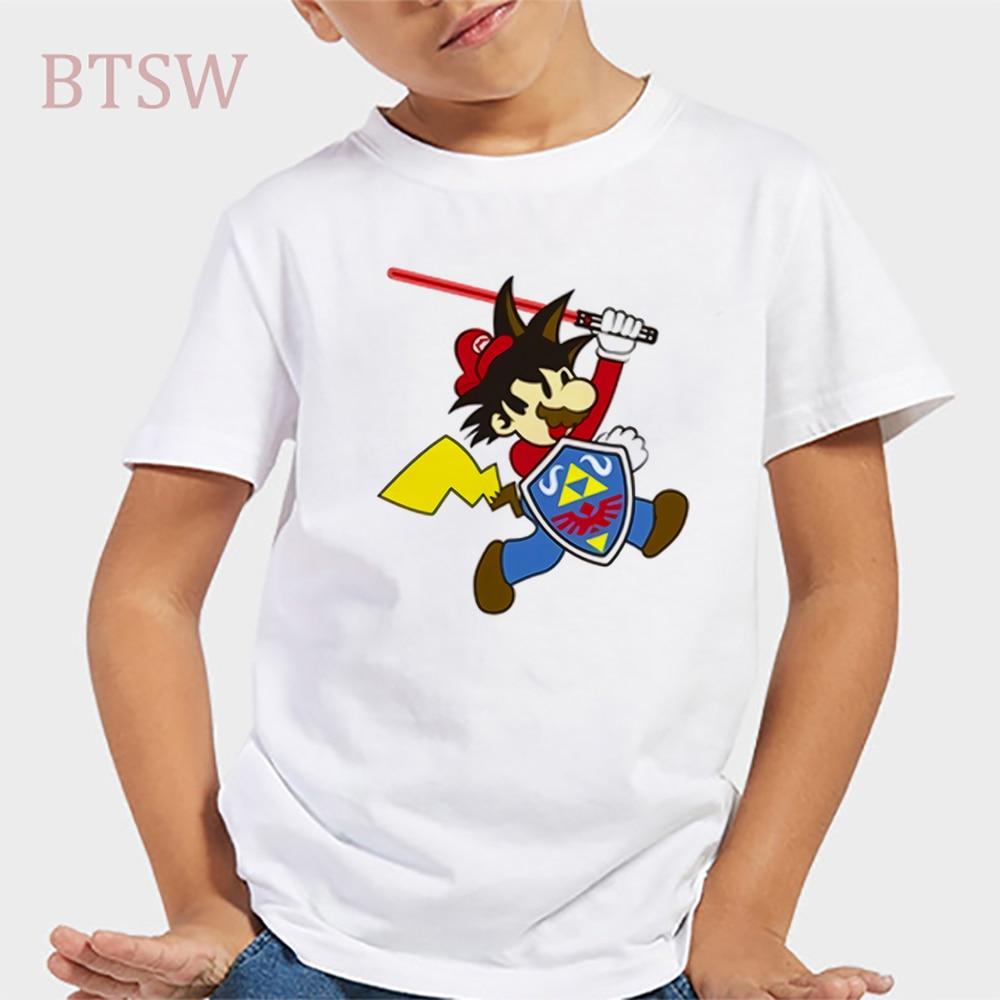 Gragon Ball Z Goku Pikachu divertida camiseta para niños/niñas regalo presente camisetas de manga corta para niños
