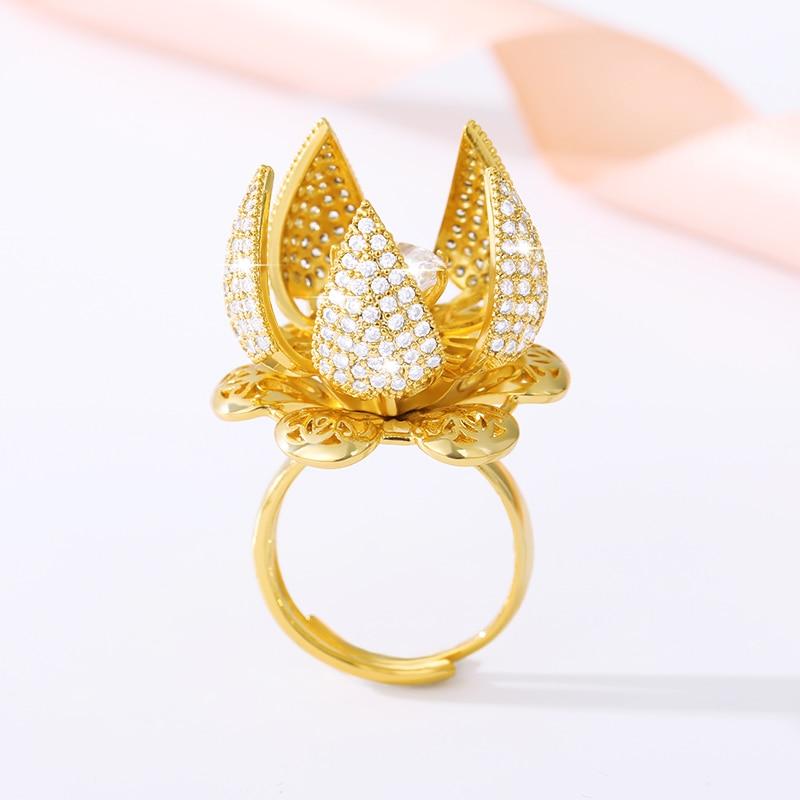 Créatif belle fleur bourgeon Bloom interrupteur réglable bague en or pour les femmes AAAA breloque en Zircon bijoux