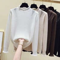 2021 new womens sweaters autumn winter ruffled mesh knitted sweater solid casual female long sleeve pullovers