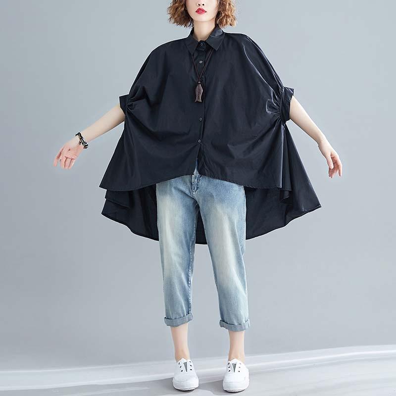 Blusa de talla grande 4XL 5XL 6XL de algodón con manga de murciélago para mujer, blusa extragrande Vintage de verano 2020 para mujer