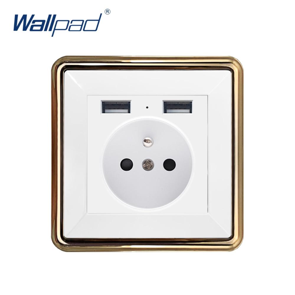 وولباد 2 USB الاتحاد الأوروبي الفرنسية المقبس الجدار مقبس الطاقة الكهربائية منفذ الذهب لوحة تيار مستمر 5 فولت 2.4A