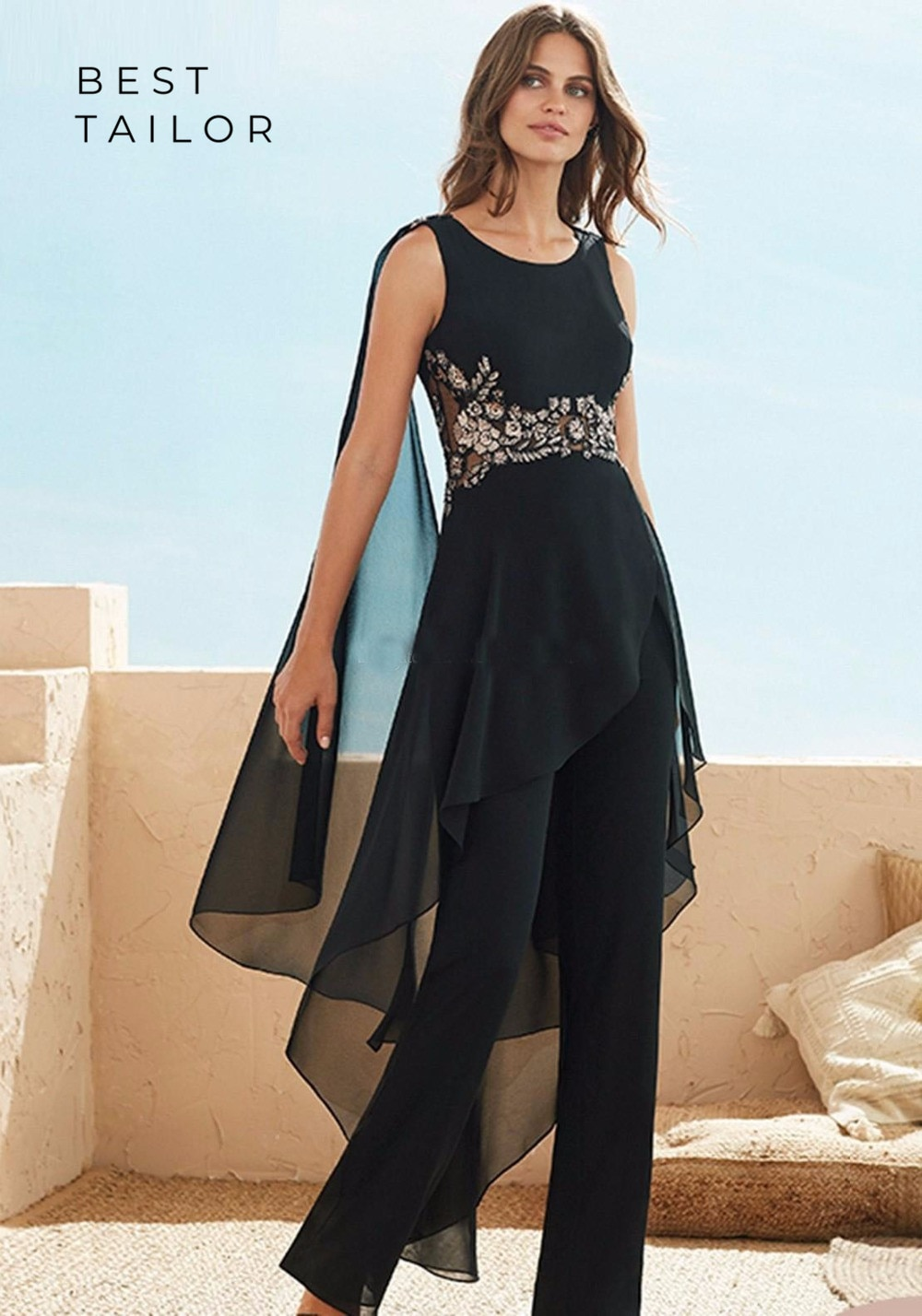Madre de la novia/novio vestidos para mono para boda gasa negra Sin mangas drapeado mujeres modestas vestidos de noche formales Farsali