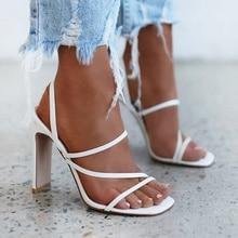 Women Sandals Pumps 2021 Narrow Band Slip On High Heels Back Strap Females Shoes Square Toe Elegant