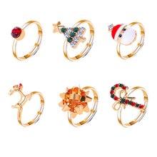 Ensemble de 6 pièces danneaux de wapiti dessin animé mignon avec ouverture darbre de noël, réglables, ornements de noël pour femmes, cadeaux de vacances
