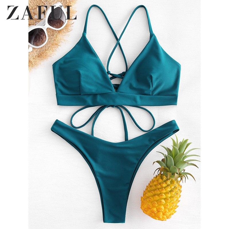 ZAFUL lazo trasero-up Bikini Criss-traje de baño cruzado mujeres de corte alto traje de baño Pavo Real correas azules cintura baja Biquni traje de baño