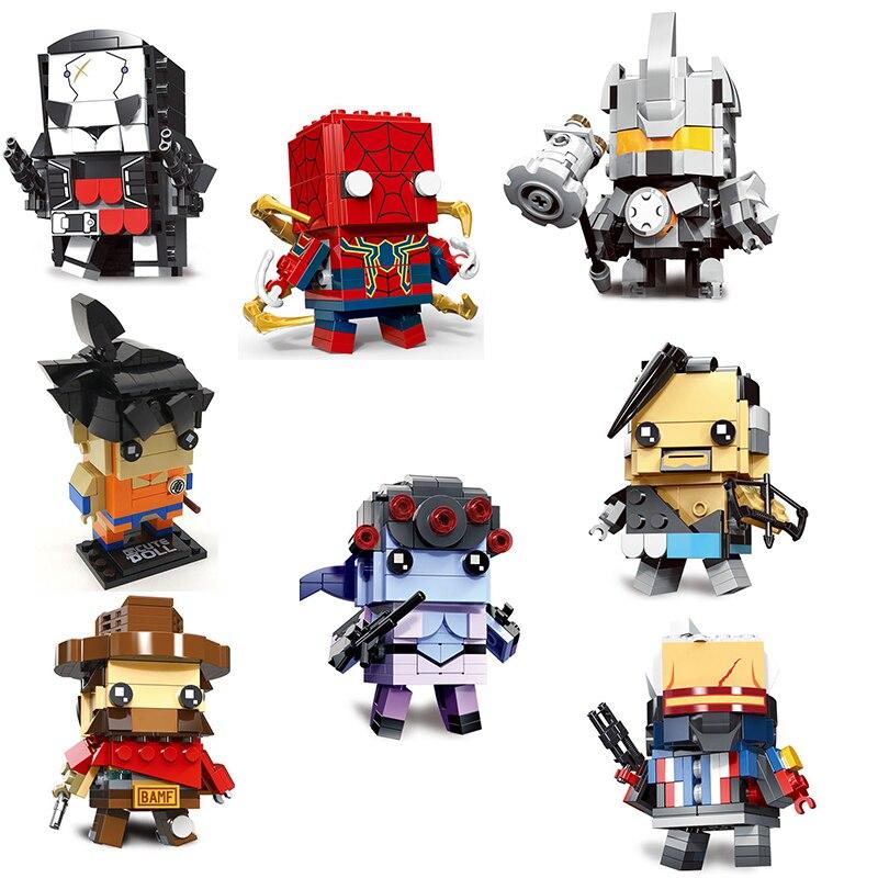 MOC DIY Brickheadz Popular Super Heroes Captain Joker Men Brick Heads Building Blocks Toys for Children Kids Chirtmas Gift