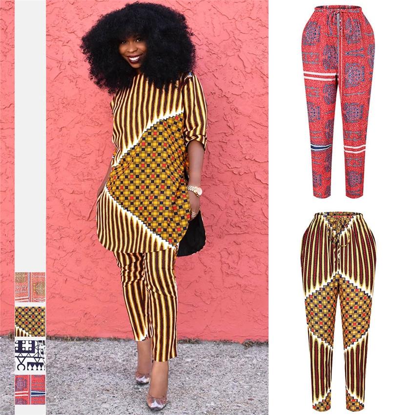 Ropa africana, moda 2020, pantalones Dashiki con estampado étnico, pantalones de cintura alta, pantalones de bolsillo para mujer, vestidos africanos Plus