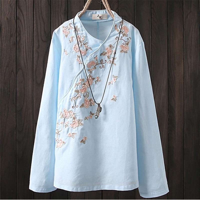 Nuevo estilo popular primavera otoño mujer Camiseta de manga larga bordado Floral vintage algodón Lino camiseta Mujer Tops talla grande d381