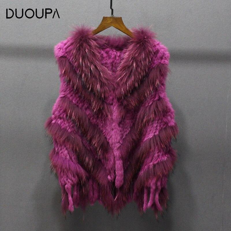 DUOUPA 2019 otoño e invierno cálido Chaleco de piel de conejo tejido Chaleco de piel de sarga chaleco ropa