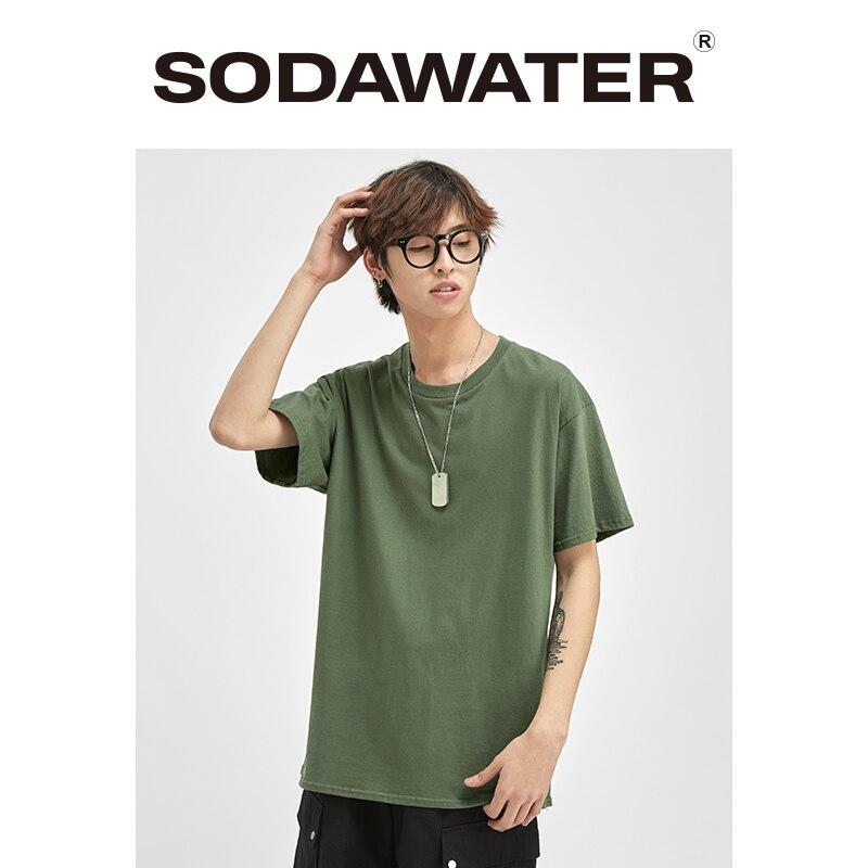 Camiseta de verano SODAWATER, camiseta Harajuku de estilo japonés para hombres, camisetas de manga corta masculino liso, Camiseta de algodón con cuello redondo para hombres 035S16