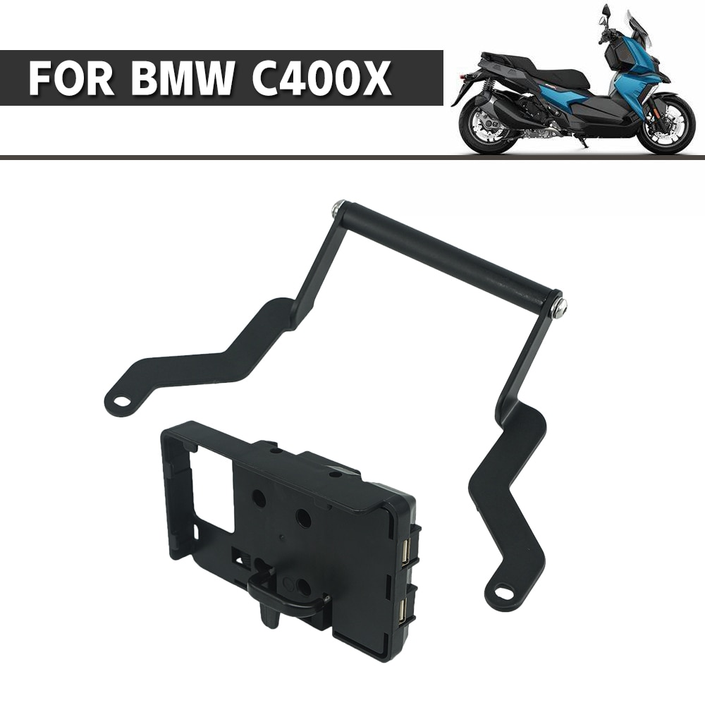 Mobile Phone Navigation GPS Holder For BMW C400X C400 C 400 X 400X Plate Support Mount Bracket Fixed Seat USB Charger Adapter