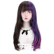 Perruque synthétique ondulée de 22 pouces Free Beauty   Perruque Lolita avec frange, perruque naturelle noire violette ombrée résistante à la chaleur pour femmes