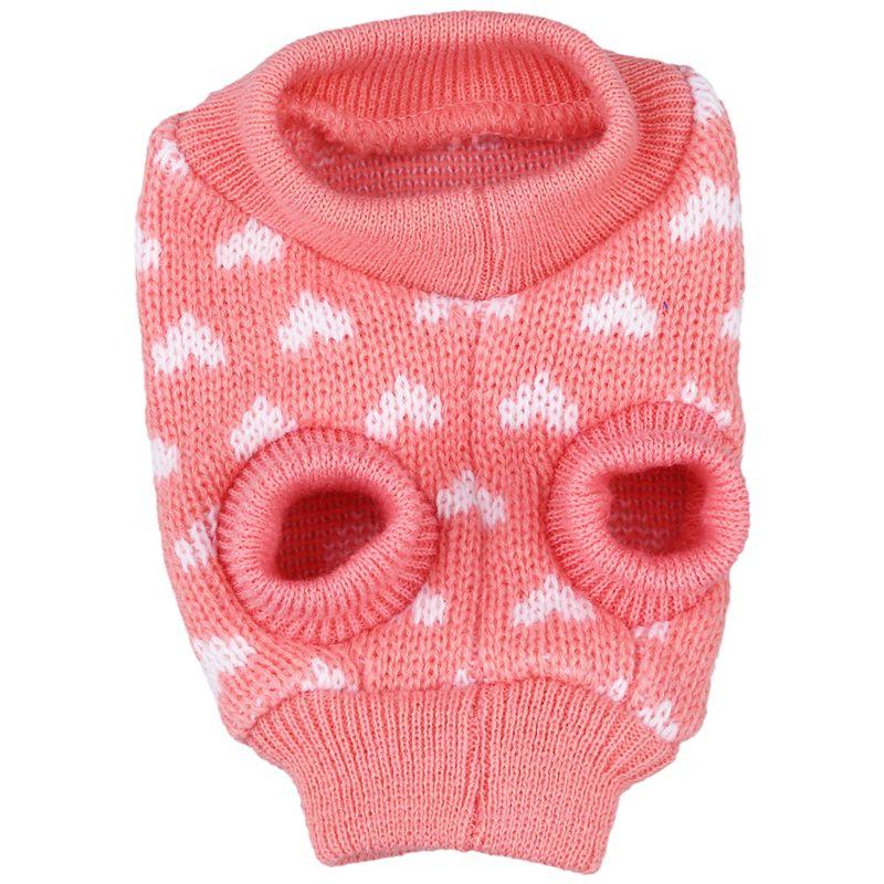 Jersey de punto para perros y cachorros, jersey para gatos, ropa de punto, abrigo cálido, ropa de disfraz, XS rosa (Corazón de melocotón)