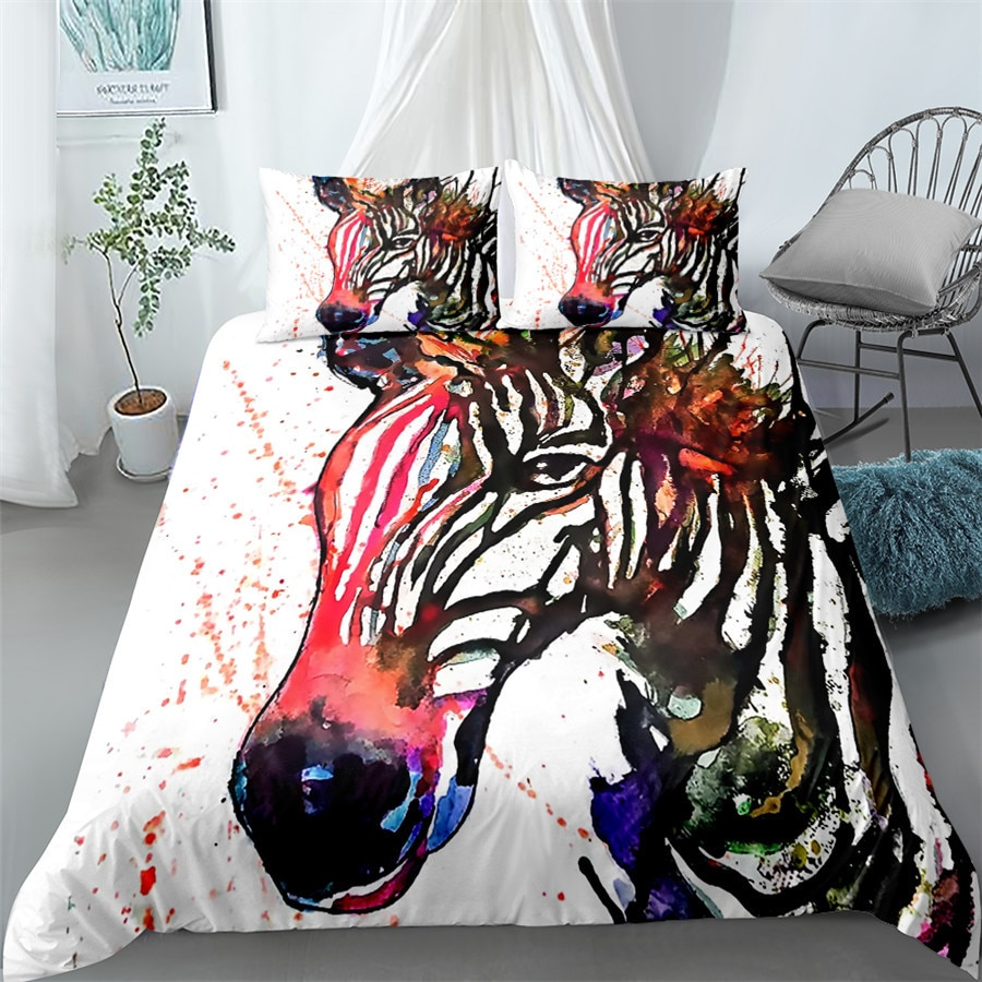 اليد رسم زيبرا حاف مجموعة غطاء الملك الملكة مزدوجة كاملة التوأم حجم واحد أغطية سرير مجموعة