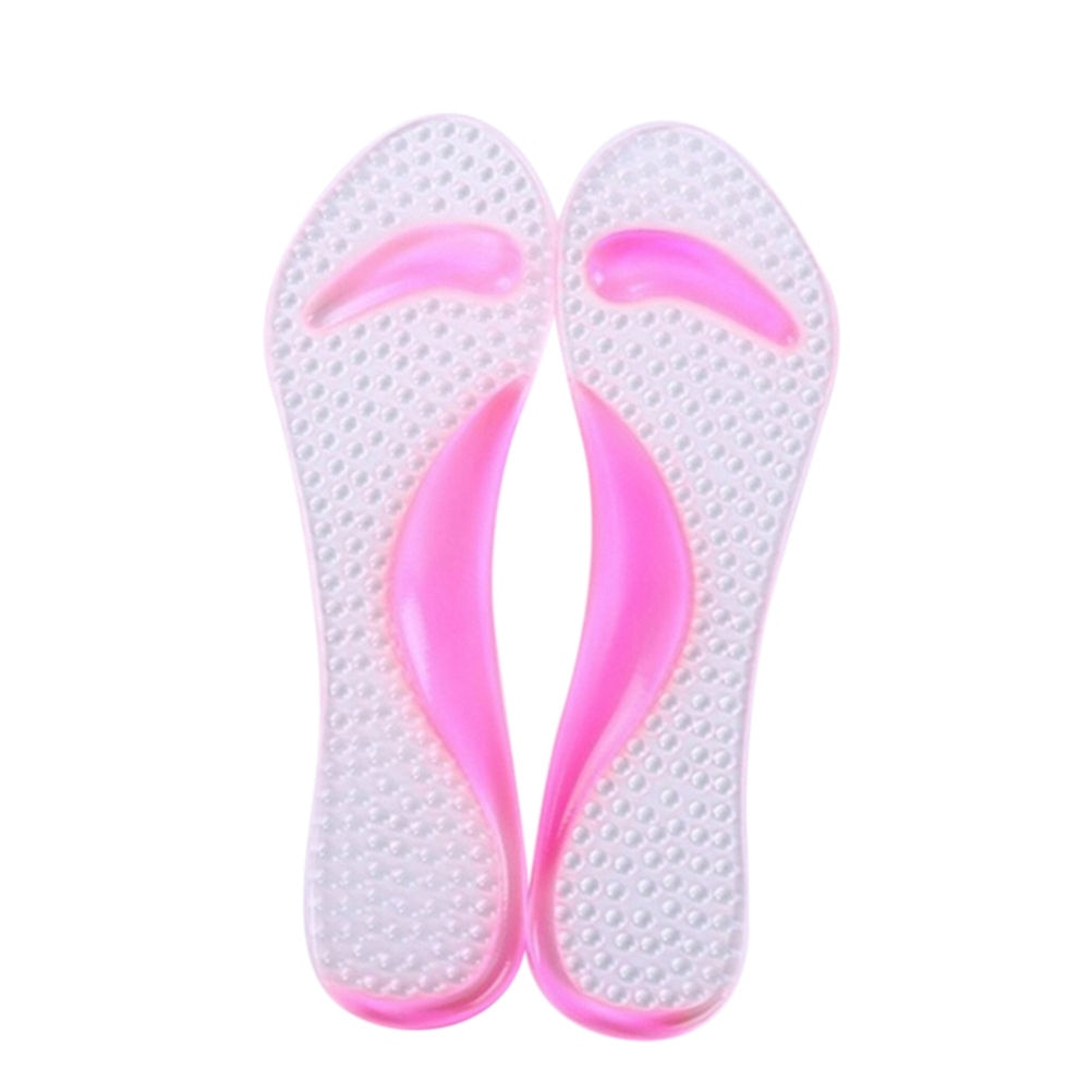 1Pair Pink Silicone Gel Massage Arch Support Insoles Orthotic Flatfoot Prevent Foot Cocoon High Heel
