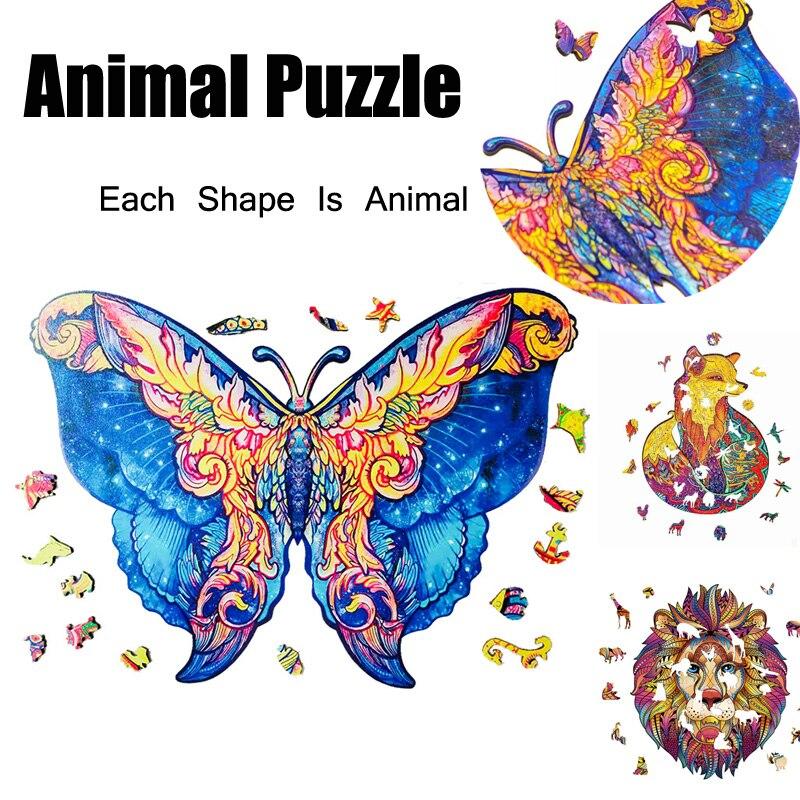 أحجية الصور المقطوعة الخشبية للأطفال والكبار ، أحجية الصور المقطوعة على شكل حيوان ، الحرف اليدوية 2021