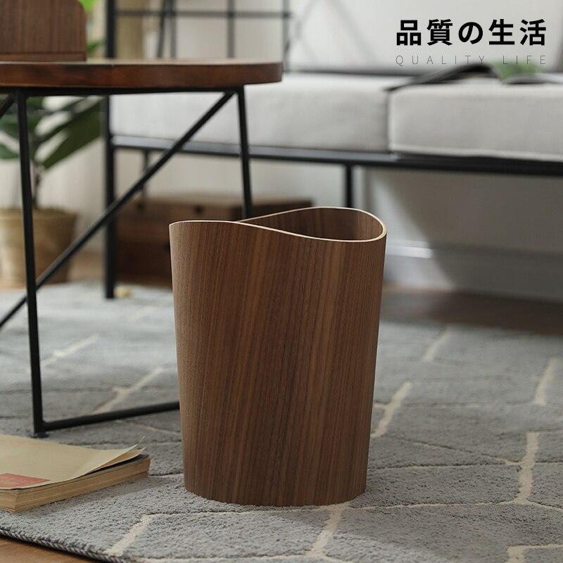 Cubo de basura nórdico japonés Cubo de madera para basura hogar Cubo de almacenamiento creativo hotel sala de estar Oficina cesto de basura