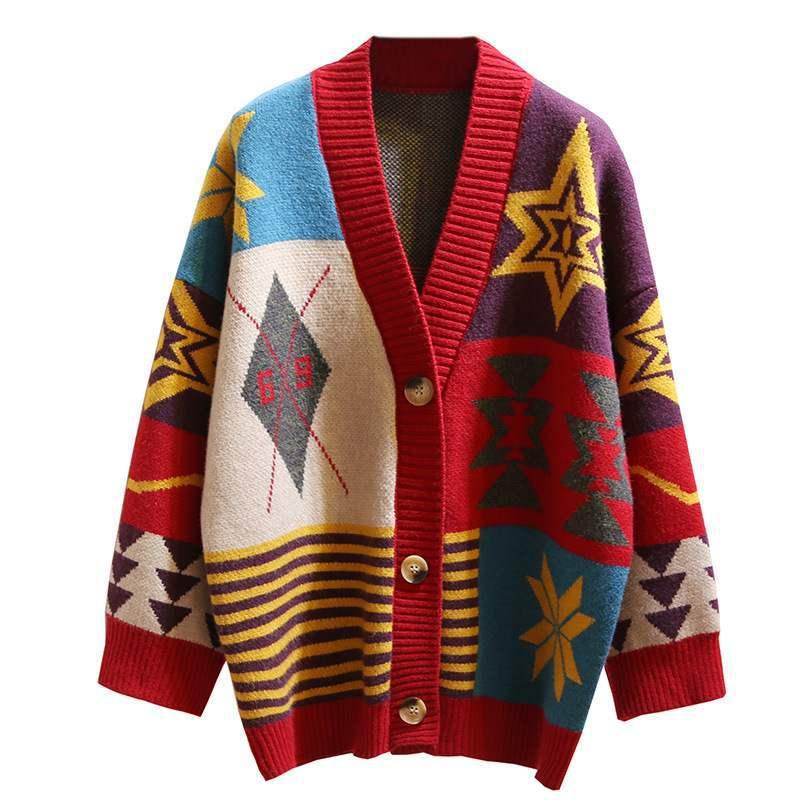 Женские Длинные Свитера и кардиганы вязаные жакеты свободные свитера с геометрическим рисунком однобортный свободные женские кардиганы ...