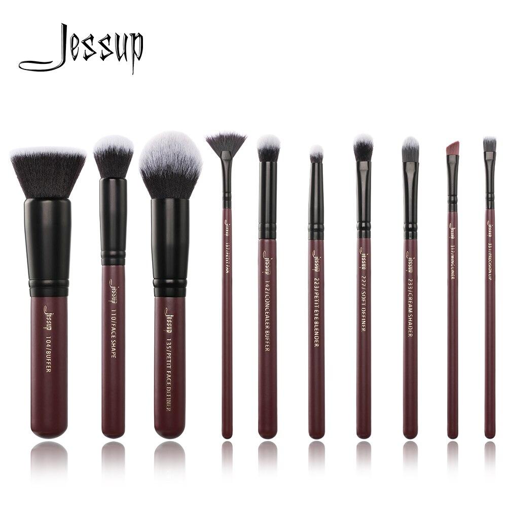 Jessup brushes 10 unids/set Plum Makeup pinceles utensilios cosméticos maquillaje pincel set mezcla Fundación sombra de ojos