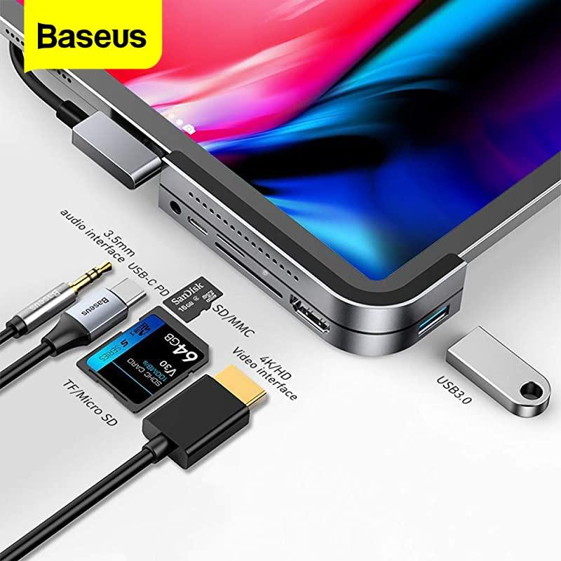 Baseus USB C HUB لباد برو محمول نوع C محطة الإرساء 4K HD USB 3.0 قارئ بطاقات الفاصل 3.5 مللي متر مهايئ الرافعة المغناطيسي الوسادة