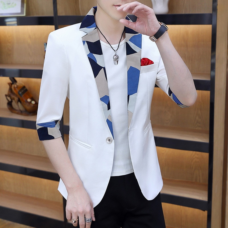 2020 Summer Half-Sleeve Shirt Men's Suit Youth Fashion Cool Printed Stitching Collar Handsome blazers