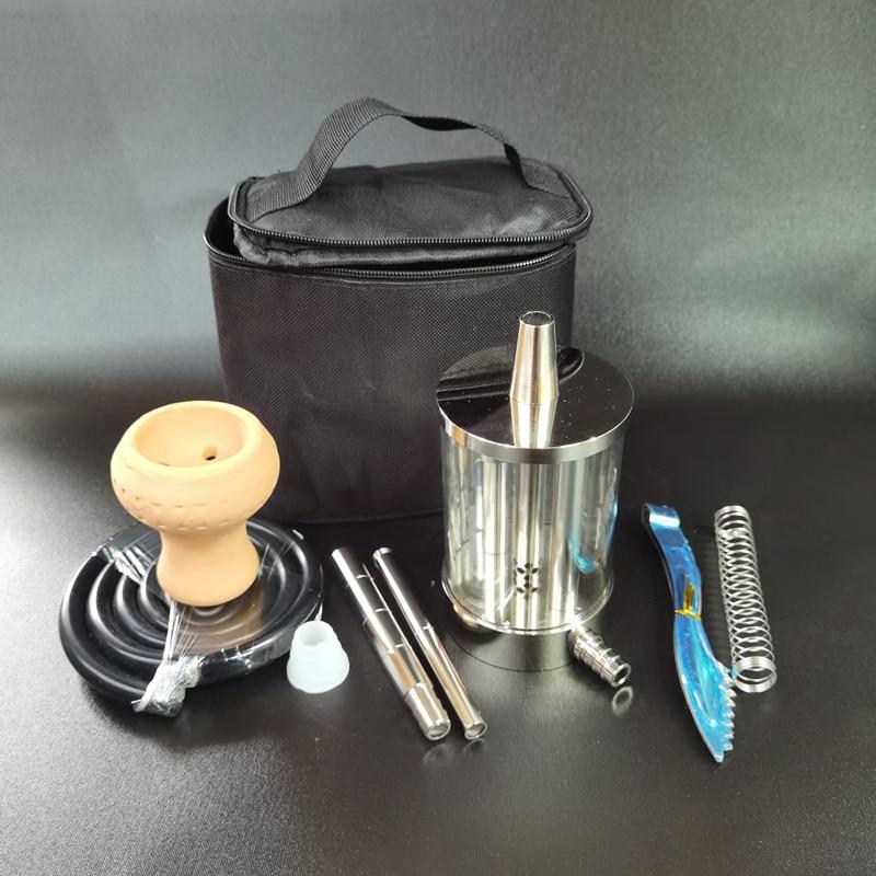 Hookah Glass Set Aluminum Alloy Mini Simple Portable Arabian Chicha Travel Shisha Glass Smoking Pipe Tool Cachimba Hookah enlarge