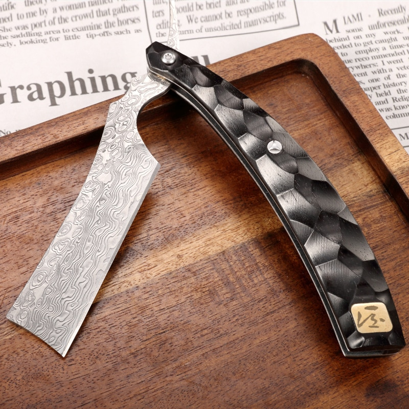 WH Razor Sharp Folding Hand Knife High-Hardness Damascus Outdoor Saber Use For Shaving Removing Body Hair ,Free Protective Cover