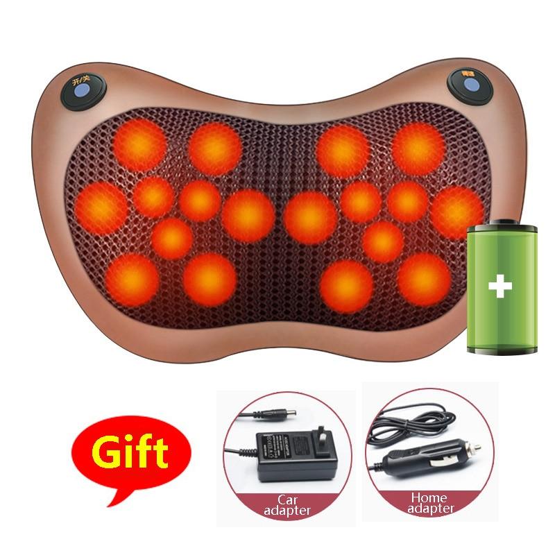 8/18 Heads Multifunctional Cervical Massage Pillow Smart Electric Neck Shoulder Body Massager Hot Compress Car Home Neck Massage