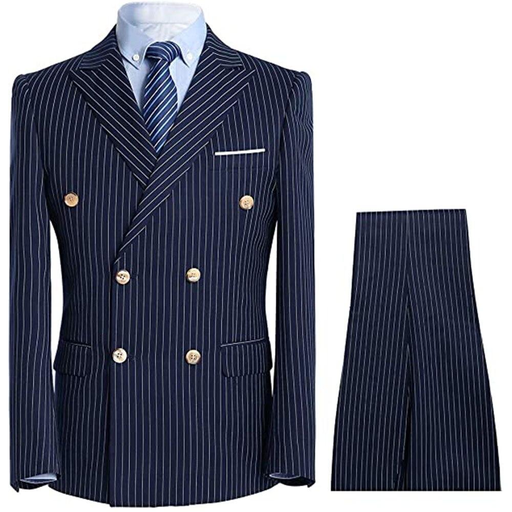 Костюм мужской облегающий в клетку, двубортный пиджак и брюки, Блейзер, смокинг для жениха, костюм темно-синего цвета, весна-осень