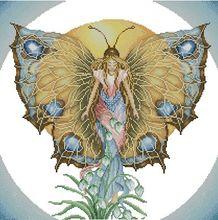Kit point de croix en coton compté   Déesse jour, fée papillon soleil et fleur de lys