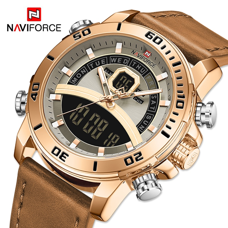 NAVIFORCE Mens Sport Watches Fashion Leather Strap Waterproof Quartz Wristwatch Male Luxury Military