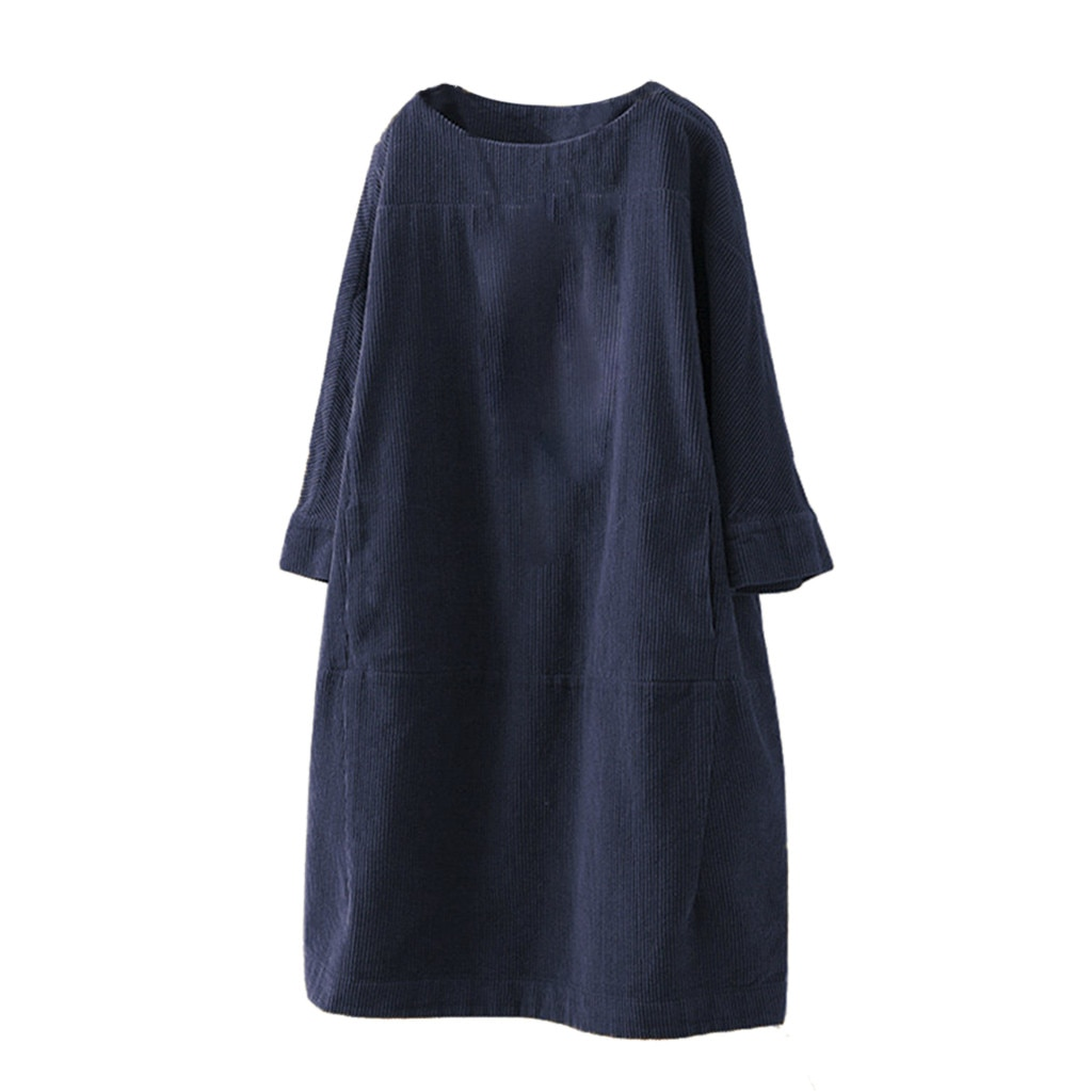 Feminino vintage bolsos veludo cor sólida vestido manga comprida solto casual plus size 5xl vestido ropa mujer jurken grote maten # l30