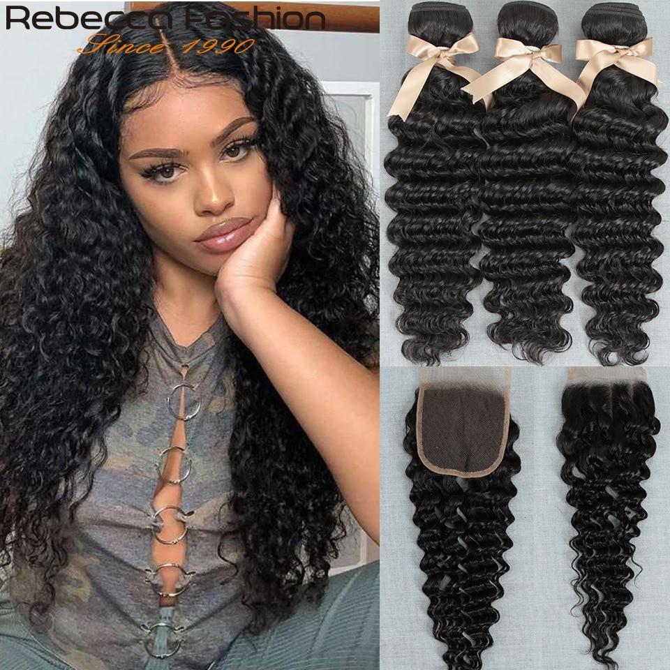 Rebecca Brazilian Deep Wave Hair Bundles With Closure Remy Human Hair Weaves 3 Bundles Deep Wave With Closure