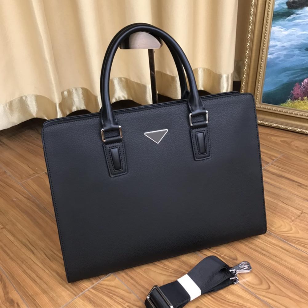 2021Men's black leather designer briefcase high quality laptop bag large capacity retro fashion office handbag