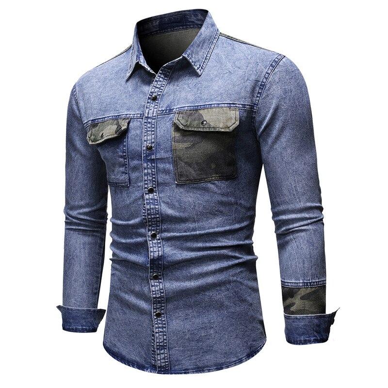 NEGIZBER 2019 Autumn Jeans Shirt Men Casual Camouflage Patchwork Long Sleeve Shirts Men Top Quality Mens Denim Shirts Streetwear