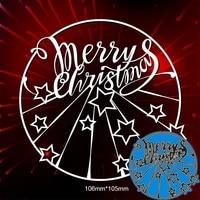 metal cutting dies creative merry christmas circle for card diy scrapbooking stencil paper craft album template dies 106105mm