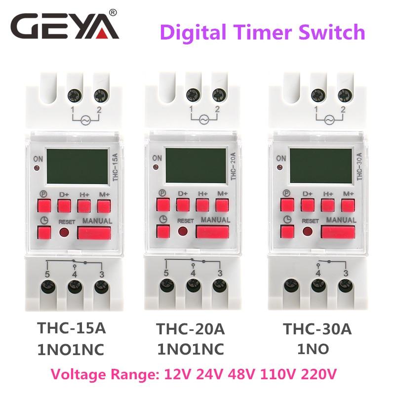 Купить с кэшбэком GEYA THC-15 Time Switch Weekly Programmable DIN Rail LCD Digital Timer Switch 16A ACDC 12V 24V 110V 220V 240V