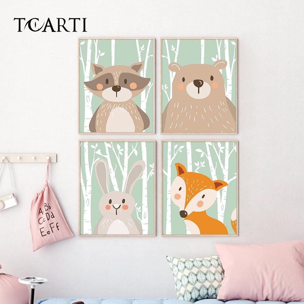 Póster e impresiones de animales bonitos de bosque para cuadro de pared para guardería decoración de habitación de bebé para niños decoración del hogar arte de dibujos animados impresiones en lienzo