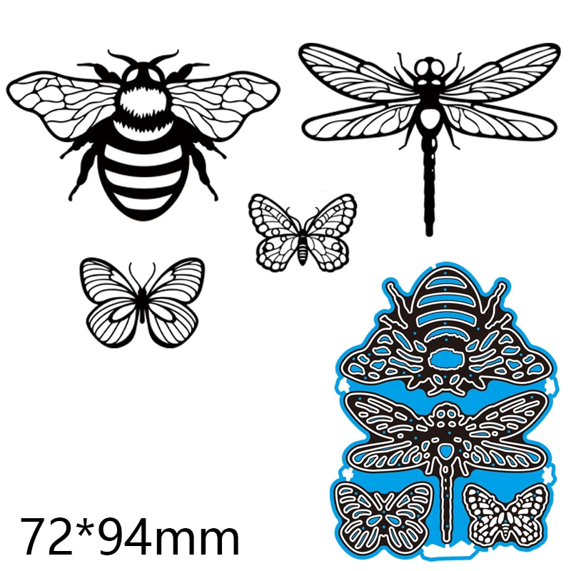 Metal Cutting Dies Bee Dragonfly Butterfly DIY Scrap Booking Photo Album Embossing Paper Cards 72*94mm