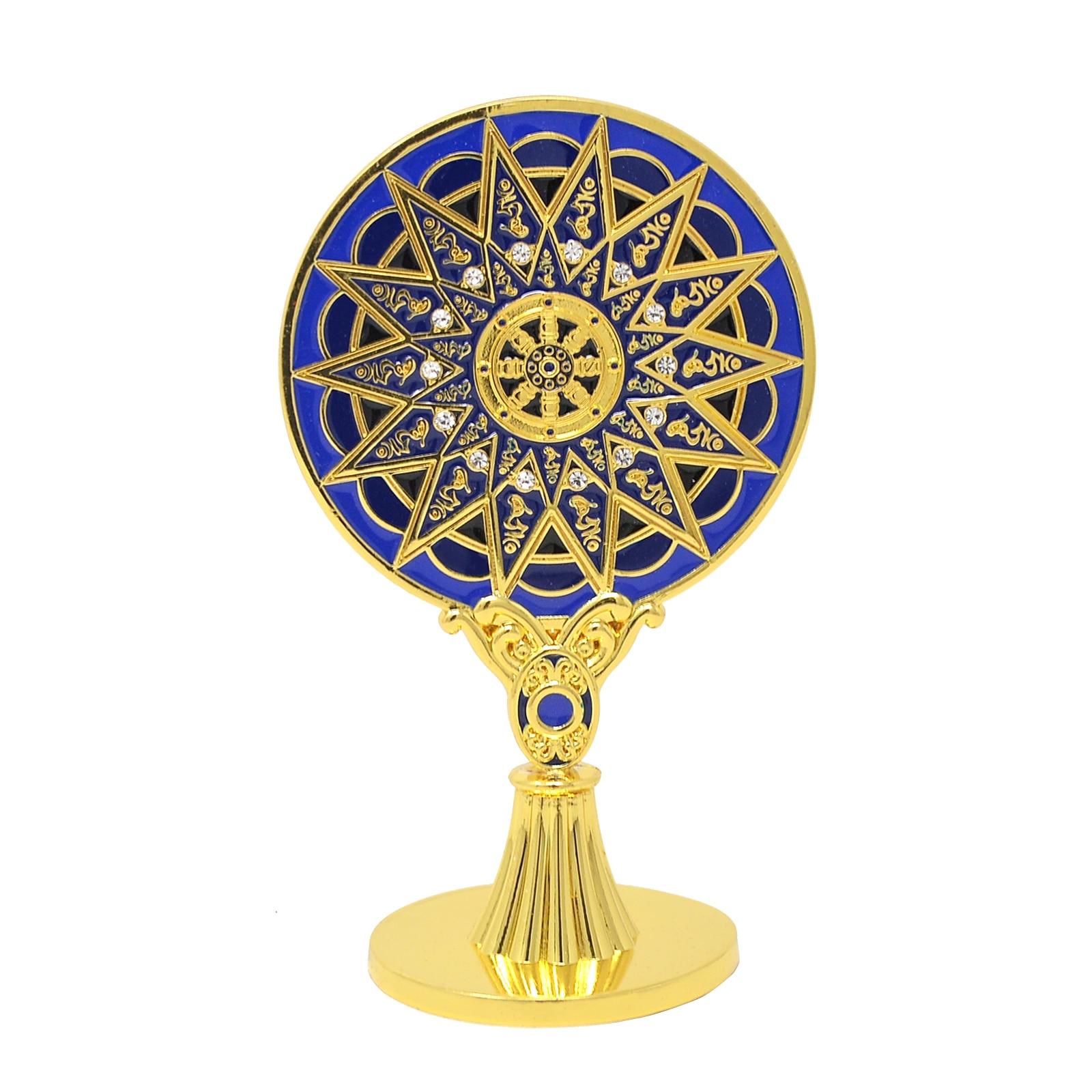 Espelho com Tibetano para Boa Saúde e Proteção Feng Shui Azul Hums Proteção Budismo Roda W4307 28