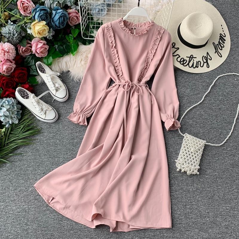Women's Autumn Dress Long Sleeve Ruffled Collar High Waist Belt Tie Solid Young Girl Elegant Dresses Woman Vestidos Female LS152