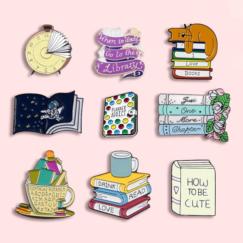 Fashion Cartoon Books Metal Enamel Brooch Cute Clock Starry Cat Kitty Library Pin Personality Charm Costume Jewelry Gift