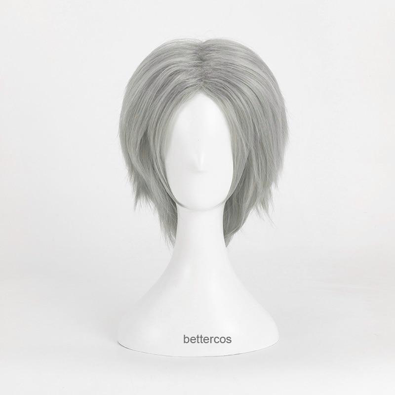 Game Dante Cosplay Wigs Short Silver Gray Heat Resistant Synthetic Hair Wig + Wig Cap