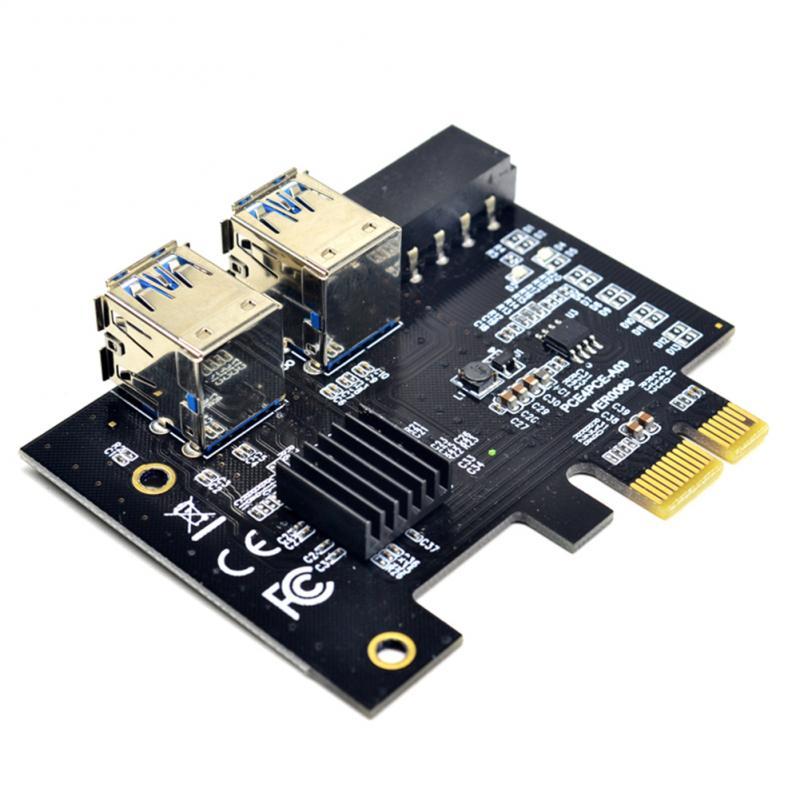 محول بطاقة PCIE إلى PCI-E Riser من 1 إلى 4 USB 3.0 محور مضاعف X16 PCI Express 1X 16X محول للتعدين BTC