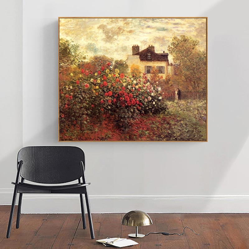Pintura por números, pintura artística por números, pintura decorativa de Paisaje de plantas de flores Monet pintada a mano Diy, pintura decorativa para pasillo de casa