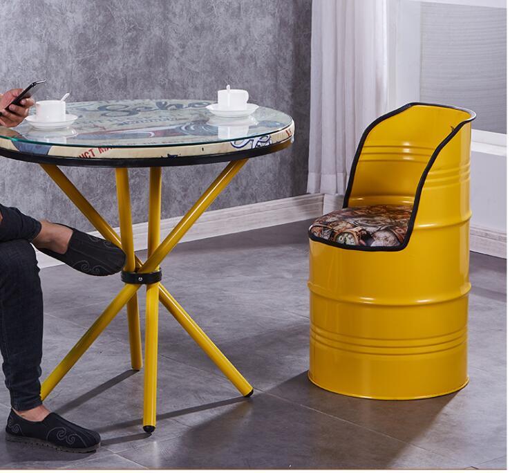Vintage demir kova sandalye bar endüstriyel rüzgar yağ bidonu demir tabure yaratıcı aperatif bar depolama yemek sandalyesi boya kovası dışkı