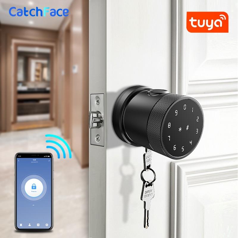 Fingerprint Door Lock Tuya Bluetooth Wifi Digital Keyboard Smart Card Combination knob Lock For Home / Office / Hotel DIY Lock