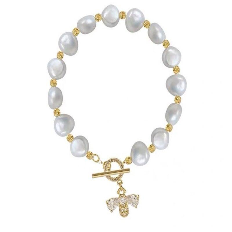 Pulsera de abeja de circonita Natural de perlas de agua dulce con microincrustaciones, pulsera ligera de lujo de gama alta, pulsera simple de moda ins para mujer